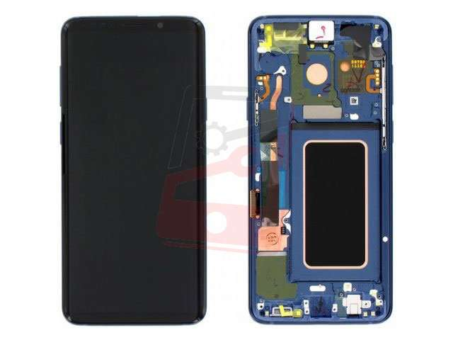 Display cu touchscreen si rama Samsung SM-G965F Galaxy S9+ albastru original
