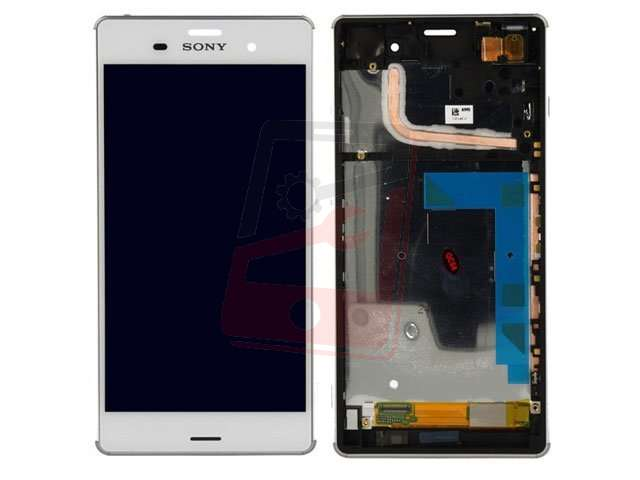 Display cu touchscreen si rama Sony D6603, D6643, D6653, D6616, Xperia Z3 alb