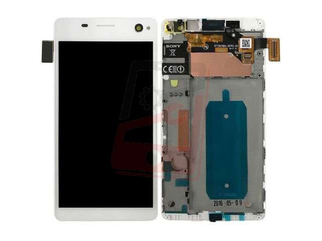 Display cu touchscreen si rama Sony E5333, E5343, E5363, Xperia C4 Dual alb