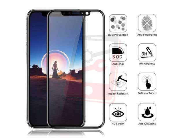 Geam protectie 0.15mm touchscreen Apple iPhone X, 10 (5D curved and full cover) negru - transpartent bulk