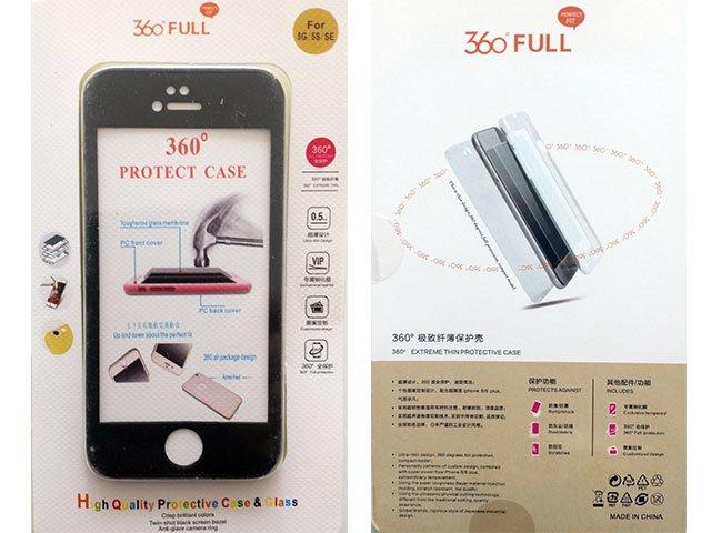 Husa fata spate 360 grade protectie cu folie de sticla display iPhone 5G, 5S, SE