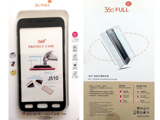 Husa fata spate 360 grade protectie cu folie de sticla display Samsung Galaxy J5 2016