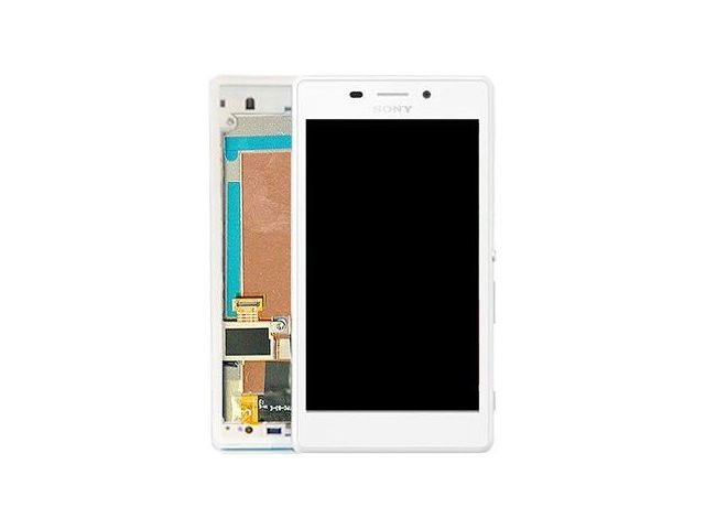 Display cu touchscreen si rama Sony D2303, D2305, D2306, Xperia M2 alb original