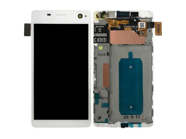 Display cu touchscreen si rama Sony E5333, E5343, E5363, Xperia C4 Dual alb original