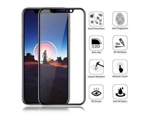 geam protectie 015mm touchscreen apple iphone x 10 5d curved and full cover negru - transpartent bulk