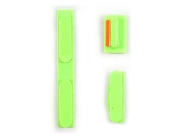 Set butoane laterale Apple iPhone 5C verzi ORIGINALE